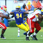 Delaware Defensive tackle Zach Kerr (94) in action during a Week 2 NCAA football game against Delaware State #15 Delaware defeated Delaware State 28 -17 at Delaware Stadium Saturday Sept. 08, 2012 in Newark Delaware.