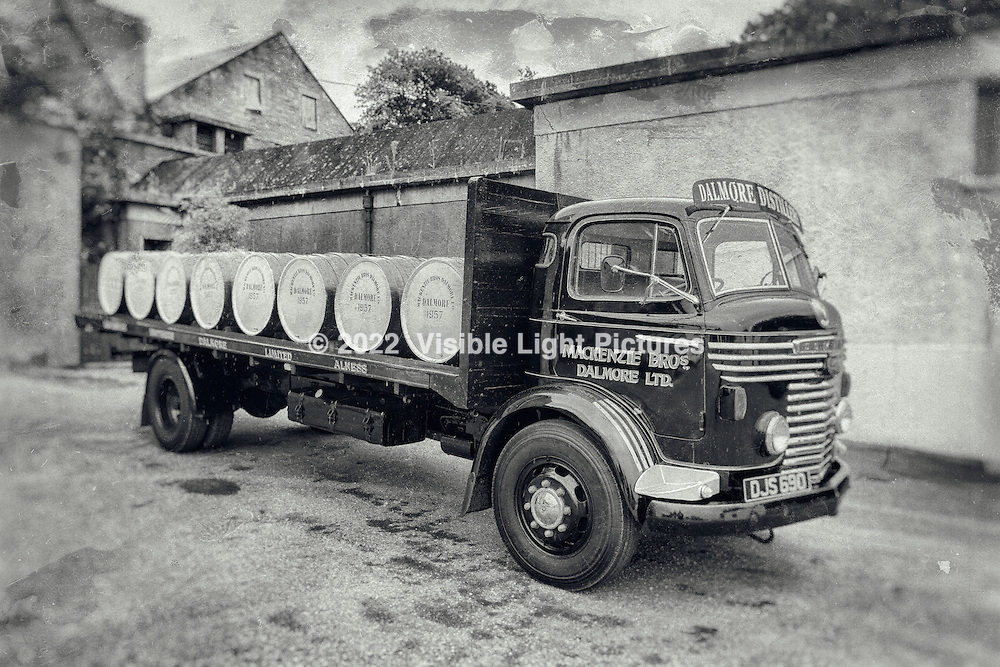 This is a stylized enhancement of a beautifully refinished, vintage commercial  delivery truck, manufactured by Commer in the UK, circa mid 1950s.  The effect is akin to a deteriorated glass plate photo, which actually wouldn't have been produced much past the early 1920s.  So, while the grounds and many original buildings on the property would have existed well within that time frame, the truck would not have.  As such, this rendering isn't historically accurate. I was nonetheless pleased with the effect and decided to take some artistic liberties.  The unadjusted original, shot with a modern, digital camera, and from which the effect was derived, is next in the sequence.