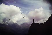View into an alpine valley near Chiareggio in Valmalenco, Lombardia, Italy