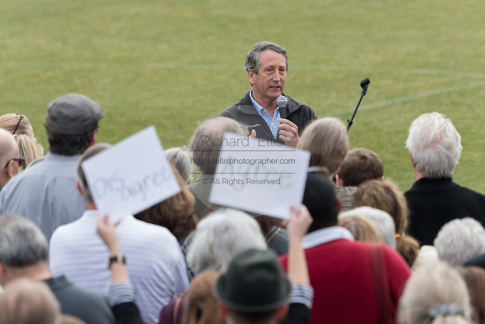 U.S. Rep. Mark Sanford holds a second town hall meeting on a football field after hundreds of constituents couldn't fit into the first event February 18, 2017 in Mount Pleasant, South Carolina. Hundreds of concerned residents turned up for the meeting to address their opposition to President Donald Trump during a vocal meeting held by U.S. Rep. Mark Sanford and Senator Tim Scott.