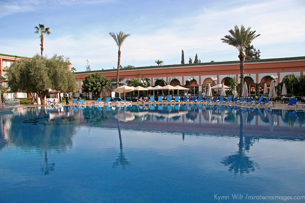North Africa, Morocco, Marrakesh. Royal Mirage Hotel Pool.