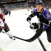 22 March 2010: Kyle Cumiskey (10) and Rob Scuderi (7) look at the puck in mid air during the NHL regular season game between the Colorado Avalanche and the Los Angeles Kings at the Staples Center in Los Angeles, CA.