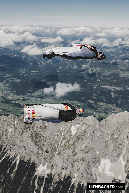 Marco Fürst and Marco Waltenspiel of the Red Bull Skydiveteam have fun in their wingsuits