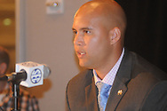 Mississippi State quarterback Tyler Russell talks with reporters during the Southeastern Conference football Media Days in Hoover, Ala., Wednesday, July 17, 2013.