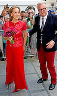 BRUSSEL Queen Mathilde of Belgium and King Philippe - Filip of Belgium pictured during the 'Bal National', an evening of concerts on the eve of Belgium's National Day in the Marolles - Marollen neighbourhood in Brussels, attended by members of the Royal Family, Sunday 20 July 2014.  COPYRIGHT ROBIN UTRECHT