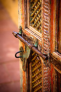 Southwestern door and lock in Santa Fe, New Mexico.