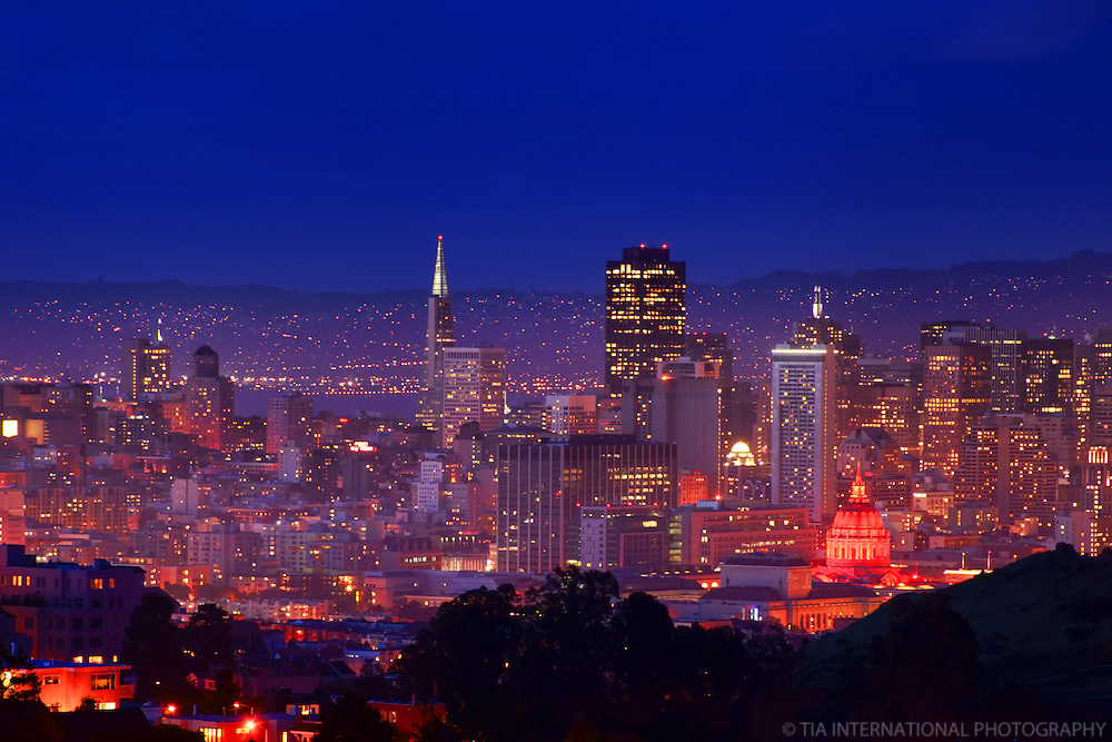 Downtown San Francisco & City Hall, Twilight