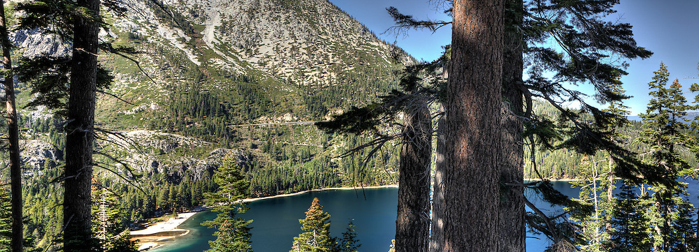 A partial view of Emerald Bay, by Lake Tahoe in California.