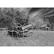 Old Wooden Wagon And Ice House - Oak Glen CA - Infrared Black & White