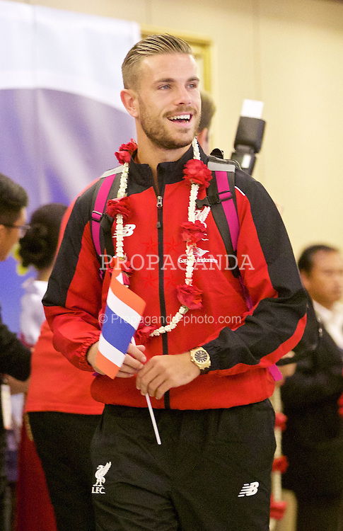 BANGKOK, THAILAND - Monday, July 13, 2015: Liverpool's new captain captain Jordan Henderson at Bangkok's Suvarnabhumi Airport as the team arrive in Thailand for the start of the club's preseason tour. (Pic by David Rawcliffe/Propaganda)