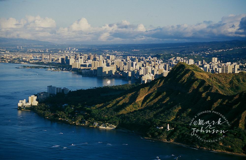 Aerial of Waikiki, Diamond Head in foreground, Honolulu, Oahu, Hawaii