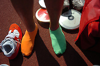 Jodi Miller Lubbock Avalanche-Journal.Friona's Dillon Welch wears two different color socks for luck when he competes for the discus. Welch won third place Saturday at the state track meet in Austin.