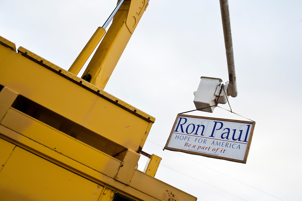 A sign for Republican presidential candidate Ron Paul hangs from a truck outside the the Grafton Fire Station on Tuesday, January 10, 2012 in Grafton, NH. Brendan Hoffman for the New York Times
