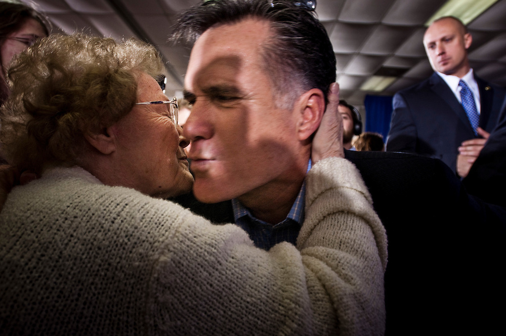 84 year-old Essie Croswell, a retired teacher, kissing republican candidate Mitt Romney at a rally in Sumter, South Carolina.