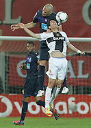 Portugal, FUNCHAL : Porto's brazilian defender Maicon (R) vies with Nacional's forward Rondon(L) during their Portuguese football match at Madeira Stadium in Funchal on March 16, 2012. .PHOTO/GREGORIO CUNHA.Estadio da Madeira, Funchal, Liga Portuguesa de futebol, Nacional vs Porto. .Maicon e Rondon.Foto Gregório Cunha