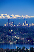 Image of the Seattle skyline from Mercer Island with the I-90 bridge in foreground, Seattle, Washington, Pacific Northwest