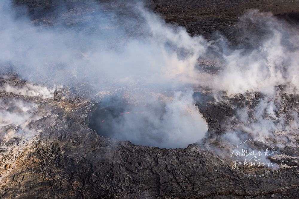 Aerial photo of Pu'u O'o, active volcanic crater erupting on the East Rift Zone of Hawaii Volcanoes National Park, Big Island of Hawaii