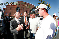 30 May 2007: Commissioner Gary Bettman chats with actor James Caan and Ray Leota before the NHL Anaheim Ducks defeated the Ottawa Senators 1-0 in game two of the Stanley Cup playoffs in the sold out Honda Center  in Southern California.