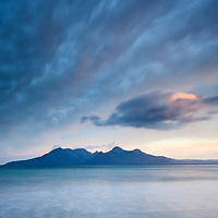 The island of Rum as seen from the Isle of Eigg in the Scottish Highlands