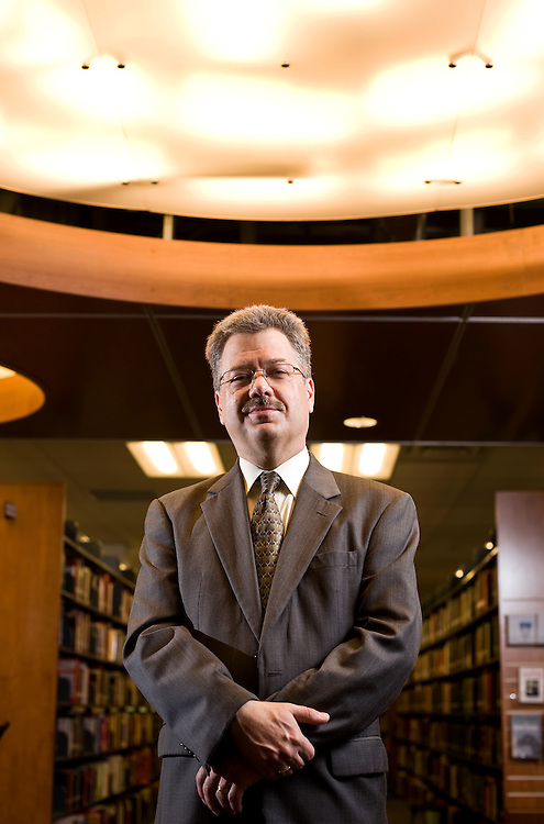 Dr. James Smith stands in the stacks on the fourth floor of the Hannah V. McCauley Library at Ohio University-Lancaster on Friday. Smith begins his new job as dean of the campus today. (Rob Hardin / Eagle-Gazette)