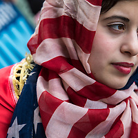 Nora Ali, 18, an American whose family emigrated from Iraq, protested Trump's immigration policy during the Not My President demonstration against President Trump's immigration policies.