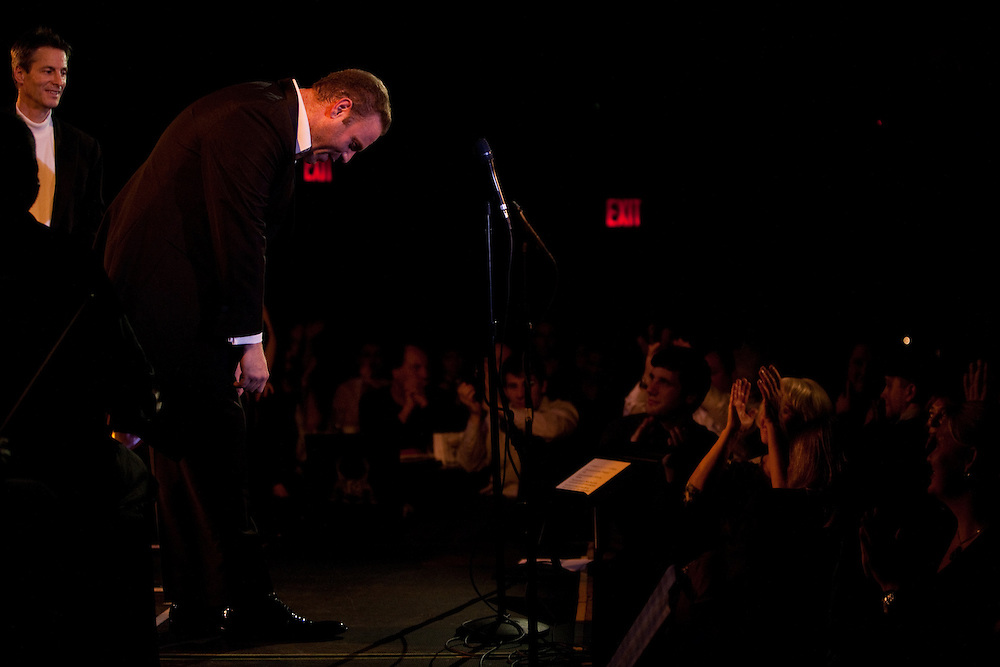Tenor Joseph Calleja bows after performing at Le Poisson Rouge on October 24, 2011.