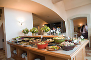 Israel, Tiberias, The brunch buffet at the Scots Hotel. A boutique hotel complex, owned by The Church of Scotland, comprises several refurbished 19th century basalt stone buildings