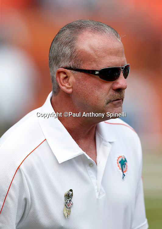 Miami Dolphins defensive coordinator Kevin Coyle watches pregame warmups before the NFL week 10 football game against the Tennessee Titans on Sunday, Nov. 11, 2012 in Miami Gardens, Fla. The Titans won the game 37-3. ©Paul Anthony Spinelli