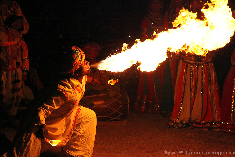 Asia, India, Jaipur. Fire Breather at Dera Amer.