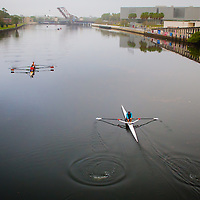 TAMPA, FL  -- Rowers glide through the water near the Tampa Bay Rowing Club on the University of Tampa campus near the Cass Street Bridge in Tampa, Florida. (Chip Litherland for Bay Magazine)