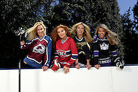 22 June 2005:  Brandy Blake, wife of Rob Blake Colorado Avalanche, Angelica Bridges wife of Sheldon Souray of the Montreal Canadiens, Dina Arnott wife of Jason Arnott of the Dallas Stars and Stacia Robitaille wife of Luc Robitaille of the Los Angeles Kings during The Not So Desperate, Desperate Housewives shoot on location in Los Angeles with NHL hockey players wives for Editorial Use Only.  No Third Party Free License Use.  Mandatory Credit:  Shelly Castellano. com or price doubles.  .