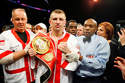 Dec 11, 2008; Newark, NJ, USA; Tomasz Adamek celebrates after his 12 round bout against Steve Cunningham at the Prudential Center. Adamek captured the belt via 12 round split decision.