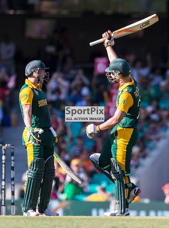 ICC Cricket World Cup 2015 Tournament Match, South Africa v West Indies, Sydney Cricket Ground; 27th February 2015<br /> South Africa&rsquo;s Rilee Rossouw scores his 50 and South Africa&rsquo;s AB De Villiers is delighted
