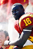 5 September 2009: #18 Damian Williams on the sidelines during the University Southern California USC Trojans Pac-10 college football team during a 56-3 victory over the WAC San Jose State Spartans at the Los Angeles Memorial Coliseum in Southern California.  His Glory is what is black eye patches have written on them.