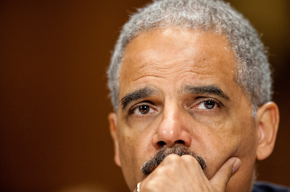 """Attorney General Eric Holder testifies before the Senate Judiciary Committee on Capitol Hill in Washington, D.C, USA, 11 June 2012. Holder was questioned about the """"Fast and Furious"""" gun-tracking operation and House plans to place Holder in contempt of Congress, as well as the investigation launched by the Justice Department Friday over a series of national security leaks."""