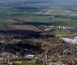 Image &copy;Licensed to i-Images Picture Agency. Aerials kent views.<br /> The edge of Ramsgate looking towards Manston International airport. Picture by i-Images