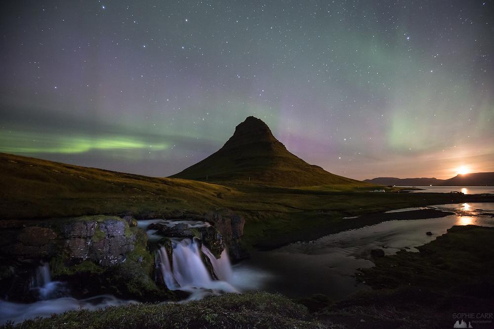 Northern Lights - aurora borealis - seen over Kirkjufell in Iceland's Snaefellsnes Peninsula