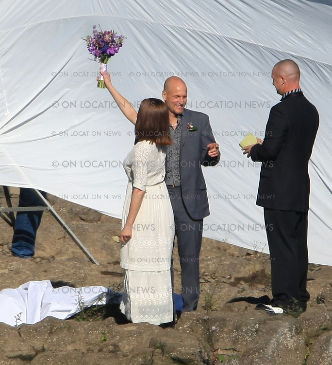 October 23, 2007 Portland, Oregon EXCLUSIVE Photo. ..Jennifer Aniston and Woody Harrelson film a romantic wedding scene on the banks of the beautiful Willamette River in Portland. The movie is a romantic comedy called Management. Photo by Eric Ford/ On Location News 818-613-3955 info@onlocationnews.com