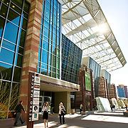 Convention-goers exit the Phoenix Convention Center located in downtown Phoenix, Arizona.