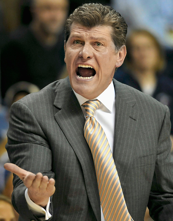 Connecticut head coach Geno Auriemma reacts during the first half of an NCAA college basketball game against Notre Dame, in Storrs, Conn., Saturday, Feb. 19, 2011. (AP Photo/Jessica Hill)
