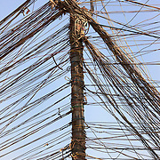 A typical baghdad utility pole is a tangle of home-rigged electrical wires, seen here extending from a neighborhood generator on a Baghdad street August 23, 2010.  After seven years of conflict, Iraqis still rely heavily on the use of neighborhood or private generators as the iraqi civil electrical grid has struggled to keep pace with demand despite numerous projects to rebuild Iraq's infrastructure and electrical capacity.  .