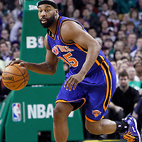 04 March 2012: New York Knicks point guard Baron Davis (85) brings the ball up court during the Boston Celtics 115-111 (OT) victory over the New York Knicks at the TD Garden, Boston, Massachusetts, USA.