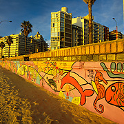 South America, Uruguay, Montevideo, colorful beachfront makes this capitol city a summer resort.