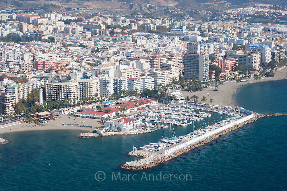 Aerial view of Marbella harbor and town on the Costa del Sol, Marbella, Spain