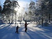 V`Fin skitur til Lutvann i str?lende sol. Vi hadde med varm drikke, og Fredrik, Espen, Amalie, dne, Ingvild og jeg koste oss i finv¾ret