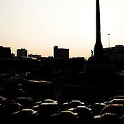 Congested traffic at Victory Monument, Bangkok Thailand.