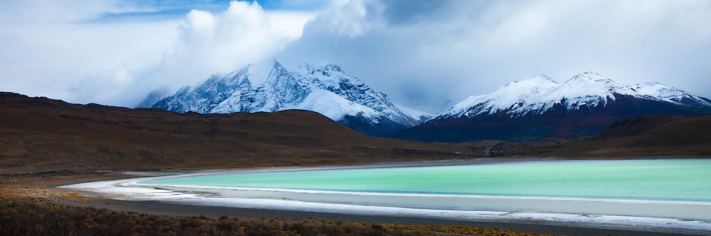 The southern end of the Andes and a lake in Torres del Paine in southern Chile