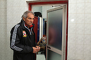 Manuel Jose, the Portuguese Coach of the Egyptian football team Al-Ahly walks towards the dressing rooms during his February 17, 2012 return to the Ahly club stadium in Cairo, Egypt. Jose returned to Egypt Feb 16 to resume his job of coach of Al-Ahly in the wake of post-football match violence February 2nd, 2012 that killed 74 and injured hundreds more in the Port Said, Egypt stadium.  (Photo by Scott Nelson)