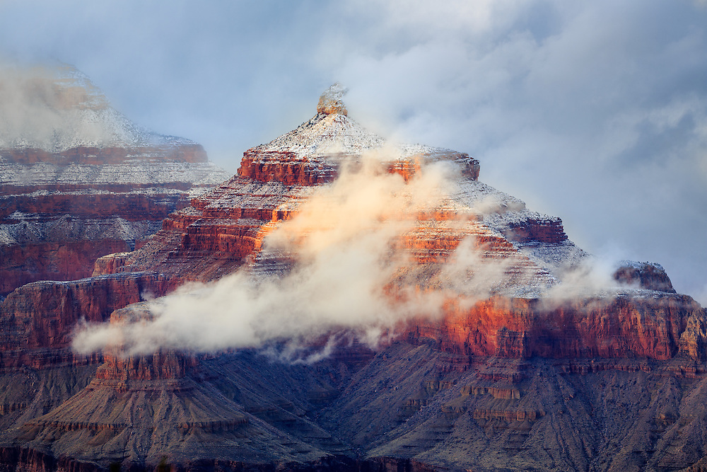 Isis Temple amongst the clouds in the Grand Canyon.
