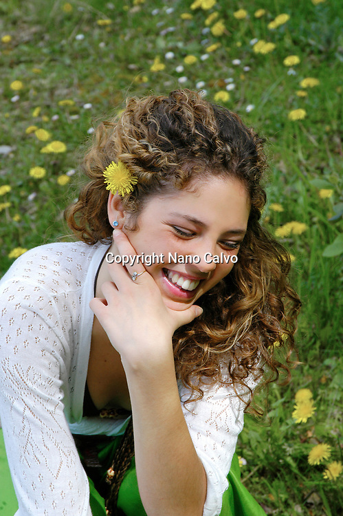 MR Young woman laughing in nature